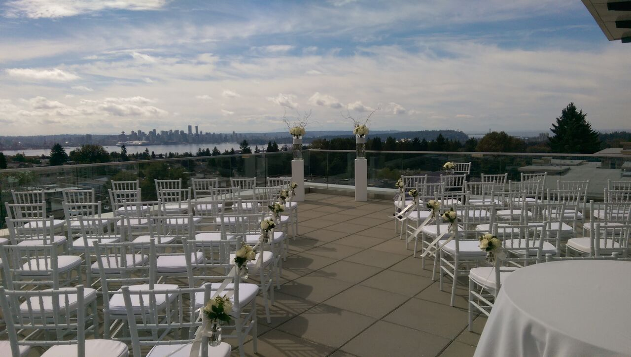 Ceremony  patio  white chairs 2
