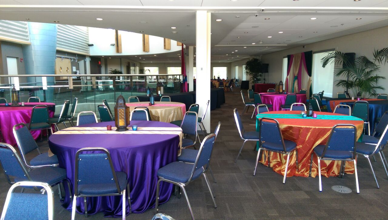 Colourful linens with banquet chairs
